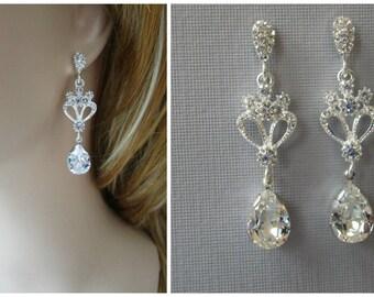 Chandelier Earrings, Bridal Earrings, Swarovski Crystals, Stud, Long Bridal Earrings, Wedding Earrings, Bridal Jewelry, Crystal Chandelier