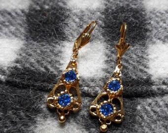 Arlésienne Sapphire gold plated earrings