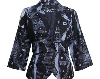 Blue Jacket, Womens blazer, Cropped jacket, Casual blazer, African Batik Blazer, Tie Die Jacket, African Jacket, African Fashion