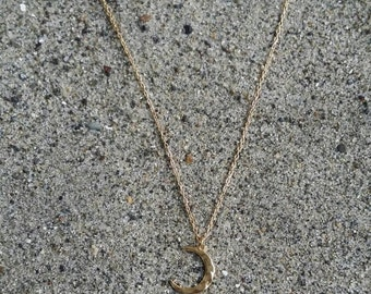 Tiny Moon Necklace, Crescent Moon, Gold Necklace, Gold Moon, Hammered, Dainty Necklace