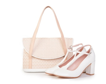 Set Prince & Adele - White patent leather handbag and t-strap shoes - Handmade in Argentina