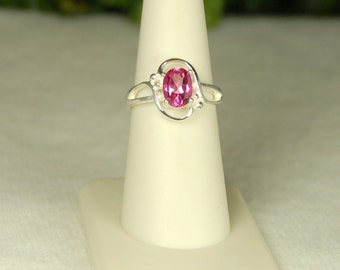Pink Mystic Topaz Ring, Size 7, Deep Pink Sparkle, Sterling Silver, Embellished Oval, Pink Gemstone Ring, Rose Pink