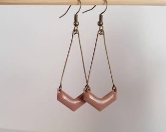 Chevron Brown sepia enamel earrings