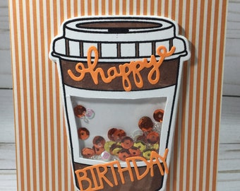 Happy Birthday to someone who really likes coffee with this adorable shaker card
