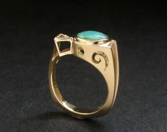 Blue Opal Ring, 14k ring with Chocolate diamond,  Peruvian Blue Opal, handmade in USA