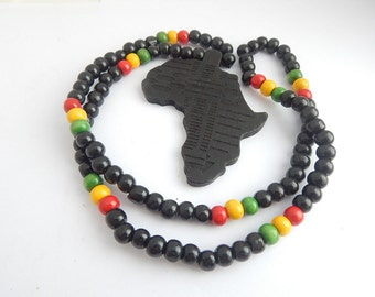 Black Africa Necklace Mens Wood Beaded Necklace African Jewelry Africa Shape Africa Pendant Afrocentric Jewelry Africa Map Hip Hop Necklace