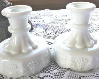 Milk Glass Westmoreland 2 White Paneled Grape Cluster Candlestick Holders