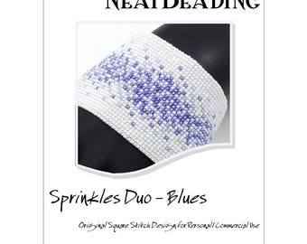 Pattern, Sprinkles Duo - Blues, Beaded Bracelet, Square Stitch or Loomwork