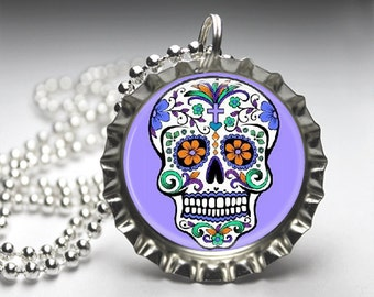 Sugar Skull Bottlecap Necklace - Bottelcap Pendant Jewelry - Free Ball Chain
