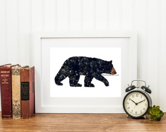 Button Art Bear Black Bear Decoration Button Black Bear Painting Cabin Wall Art Swarovski Rhinestones Bear Button Bear Black Bears