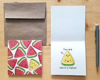 One in a Melon - Food Pun Card, Punny Card, Love Card, Funny Card, Cute Card, Foodie Card, Anniversary Card, Cute Stationary, Watermelon