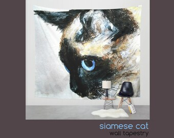 Siamese Cat Wall Tapestry   Beautiful Wall Hanging   Painting   Pet Art    Fine Art   Home Decor   Wall Decor   3 Sizes