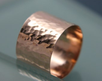 Rose Gold Hammered Wide Band 14k SOLID Statement Ring Recycled Gold Yellow gold
