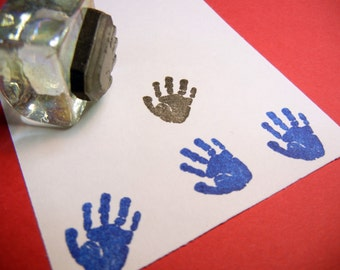 Baby Handprint Rubber Stamp -  Handmade rubber stamp by BlossomStamps