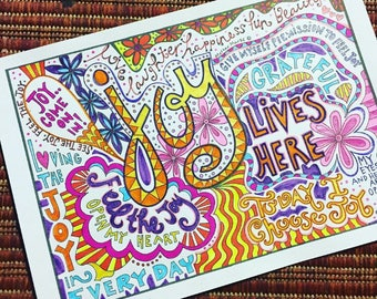 JOY Coloring page download, Adult coloring page, Printable coloring page, recovery coloring, colouring, self love quotes. Love.
