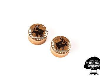 ear gauges - deer plugs - christmas plugs - new year gauges - deer gauges - winter plugs - 20mm 21mm 22mm 23mm 24mm 25mm 26mm 27mm 28mm 29mm