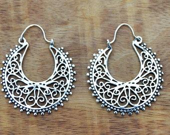 Gypsy Earrings, Silver Hoop Earrings, Boho Earrings, Tribal Earrings, Filigree Earrings, Ethnic Earrings, Indian Earrings, Belly Dance