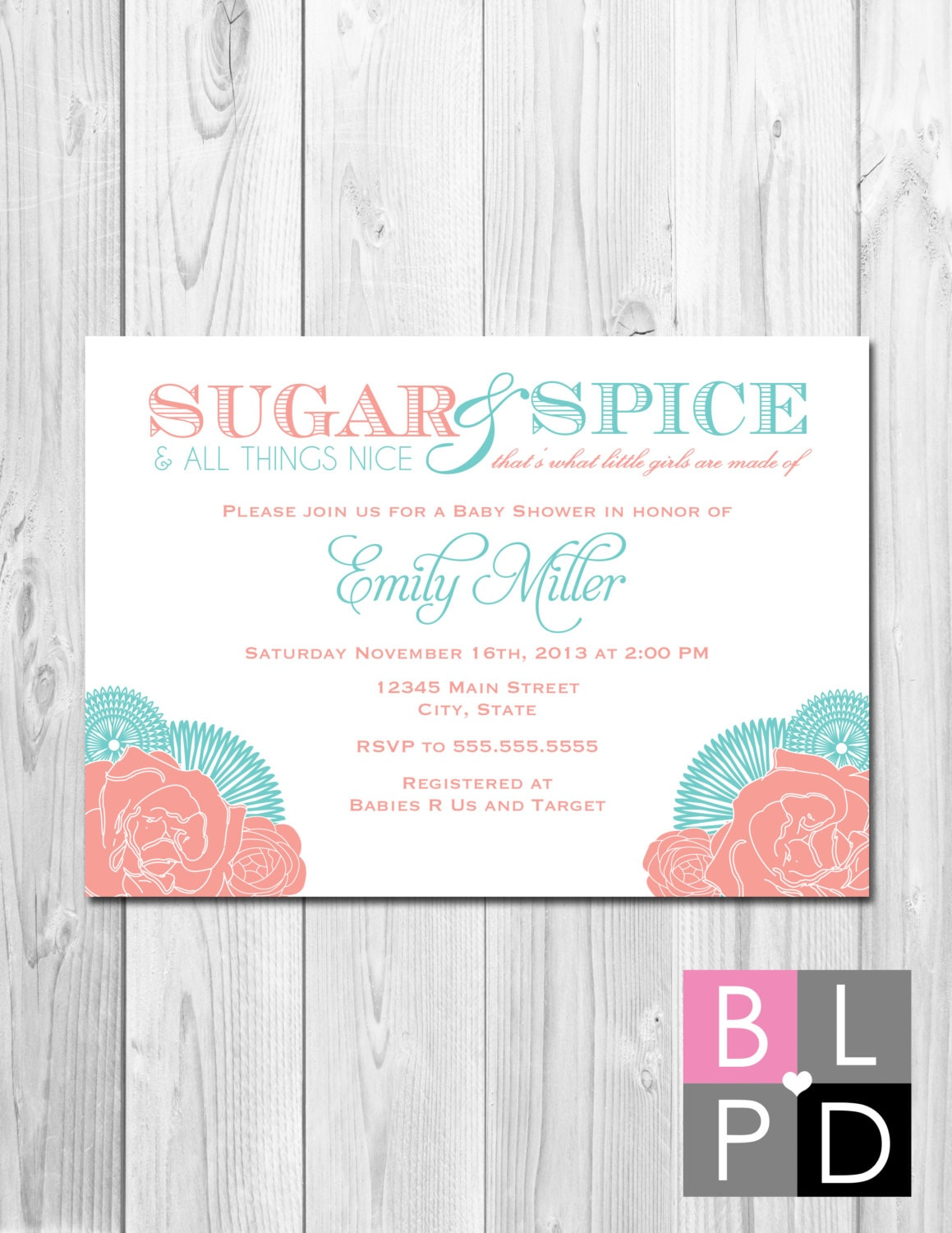 Sugar and Spice Baby Shower Invitation Corner Flowers