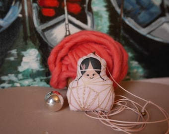 Collier maternité - poupette avec bola intégrée - coton rosée imprimé graphique doré