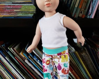 "Doll Leggings, 18"" Doll Clothes, Animal Doll Pants, Girl Doll Trousers"