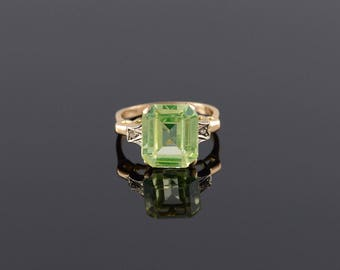 Art Deco Lemon Cubic Zirconia* Diamond Ring Size 6.25 Gold