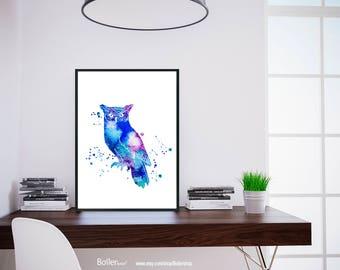 Owl Print, Watercolor Print, Owl Art, Nursery Art Print, Printable Nursery Download Print, Kids Animal Art Poster, Digital Print, Bird Print