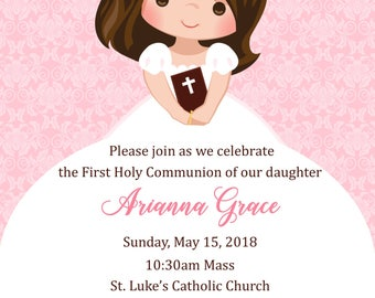 First Communion Invitation - Girl  (Digital File) / Girls First Communion Invitation / 1st Communion Invitation for Girl/ Communion Invite
