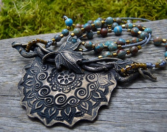 Blue Sediment Jasper Necklace, Bronze Necklace,  Nature Jewelry, Boho Necklace, Gypsy, Summer Jewelry, Gift For Her, Mandala Pendant