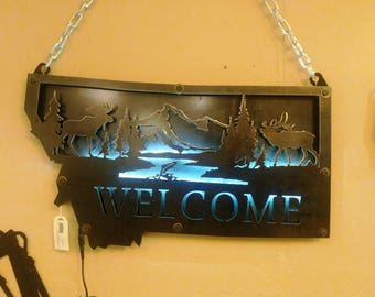 """Personalized Metal 3-D State of Montana Wildlife """"WELCOME"""" Sign with Double Layers Bolted Together & LED Lights Between"""