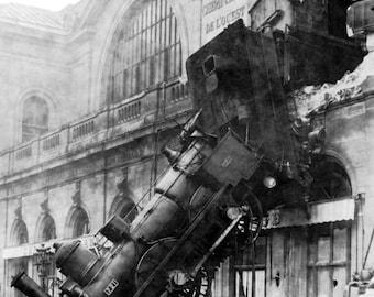 Train wreck Montparnasse Paris 1895 Copy of contemporary photograph