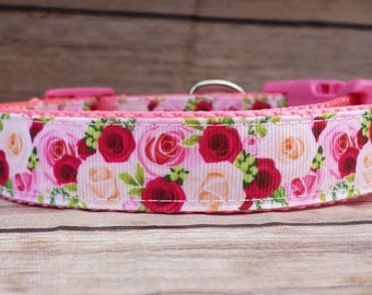Rose Dog Collar / Pink Rose Dog Collar / Red Rose Dog Collar / Girl Dog Collar / Floral Dog Collar / Pretty Dog Collar / Dog Lover Gift