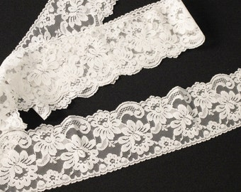 2.5 YARDS Off White Lace Trim - Sewing Apparel - Lace Bows - Scalloped Lace Trim - Wedding Lace Trim - Lace for Costumes - Lingerie Lace