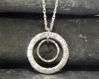 Double circle Sterling silver necklace - circle necklace - ring necklace - love necklace - anniversary gift -  handmade in Cornwall