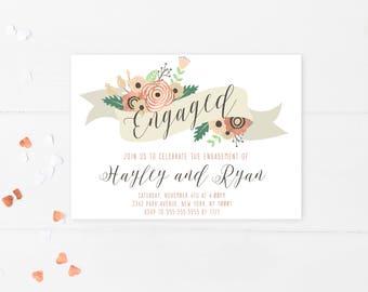 Engagement Party Invitation, Engagement Invites, Printable Engagement Party Invitation, Rose Gold, Floral, Flowers, Engaged, Digital [169]