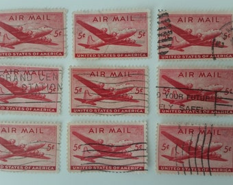 Red Air Mail Stamps Bulk / Used Vintage 1946 Air Mail Stamps/Red Stamps