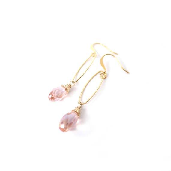 Pink Crystal Hoop Dangle Earrings