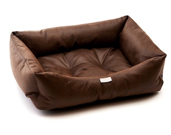 Brown/Black Faux Leather Dog Bed