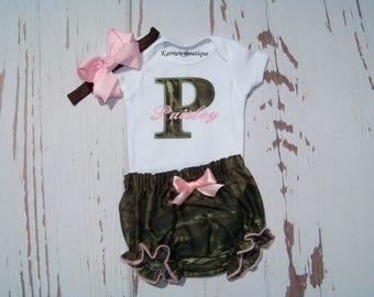 Personalized Coming Home Outfit / Mossy Oak Camo + Pink / Take Home Outfit / Birthday / Cake Smash/ Newborn / Infant / Baby / Girl / Toddler