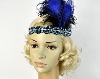 Flapper Blue Silver beaded rhinestone flapper headband 1920s Headpiece The Great Gatsby headband, vintage rhinestone headpiece