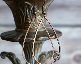 Copper Teardrop Earrings - Copper Earrings Teardrop Earring Dangle Earrings Drop Earrings Statement Earrings Long Earrings