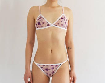 Mesh Floral Lilac Triangle Bralette
