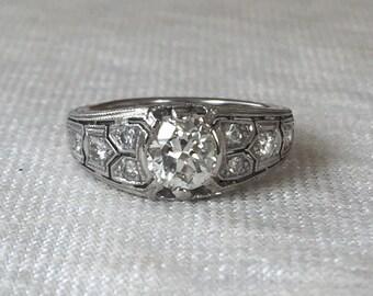 Art Deco Platinum Milgrain Filigree Engagement Ring