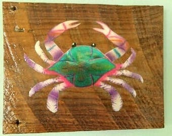 crab art, wood wall hanging, hanging wood crab, reclaimed wood art, beach house decor, coastal decor, nautical art, reclaimed barn wood art
