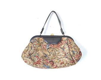 Needlepoint Bag Tapestry Bag  Tapestry Purse Vintage Carpet Bag, Vintage Purse, Vintage Bag, Black Handbag, Floral Purse, Print Purse