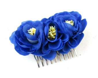 Royal Blue Camellia Tea Rose Flower Hair Comb Bridesmaids Rockabilly Vintage 966