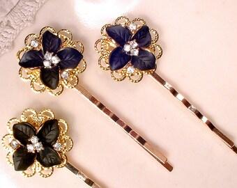 Black Flower Rhinestone Bridal Hair Pins, Gold Bridesmaid Gift Set 3, Black Bridesmaid Jewelry, Jeweled Bobby Hairpins Clips Vintage Wedding