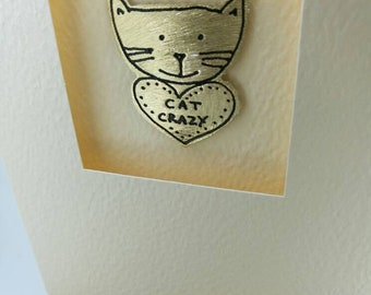 Crazy Cat handmade greetings card with cute metal motif by Sharon McSwiney