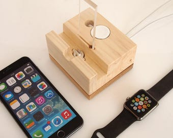 Apple Watch and iPhone dock  - iPhone 6 dock - iPhone 7 dock - iPhone 8 dock - iPhone X dock - iWatch dock - handcrafted