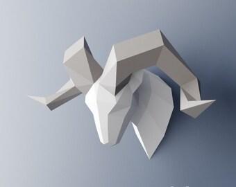 Ram Papercraft, DIY Ram Trophy, Ram Paper Head, Sheep Papercraft, DIY Gift, Ram Faux Taxidermy, PDF Template, Origami Ram Head, Paper Horns