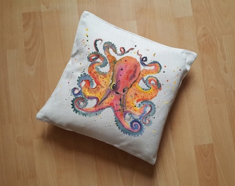 Octopus Cushion Cover, Orange Octopi Pillow, Octopus Lover Gift, Tentacle Cushion, Octopus Present, Octopus Decor, Octopus Gift, Tentacles